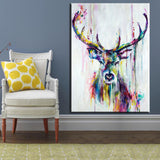 Triptych Watercolor Deer Head Poster Print Abstract Animal Picture Canvas Painting