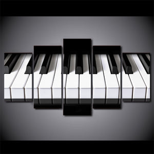 5 Pieces Canvas Art Piano Keys HD Printed Music Poster Canvas Painting Wall Pictures