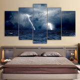 Canvas Clouds Waves Sea Storm Lightning Ocean Painting Print Print Poster Picture