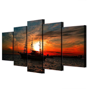 Canvas Wall Art Painting Modular Pictures 5 Panels Boat Ocean Sunset Clouds Seascape HD Printed Poster