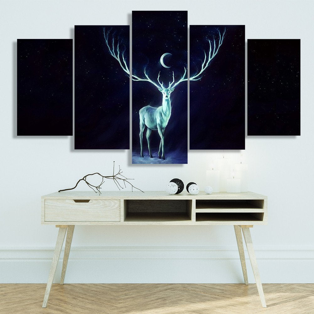 Modern Canvas Art Painting HD Print Wall Art 5 Panel Abstract Picture Moonlight Animal Deer Poster