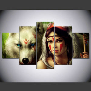 Canvas Wall Art Canvas Painting Landscape 5 Panel Horse And Girl Wall Modular Pictures HD Print