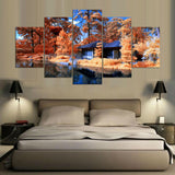 Vintage 5 Panel Tree And House Paintings On Canvas Posters And Prints Pictures