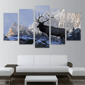Modern HD Print Painting Canvas 5 Panel Animal Deer Elk In Snow Montain Landscape Poster Modular Picture