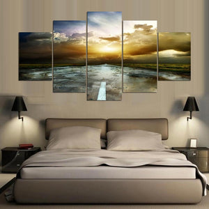 Hd Printed Modular Picture Large Canvas Painting 5 Panel Sunrise Landscape