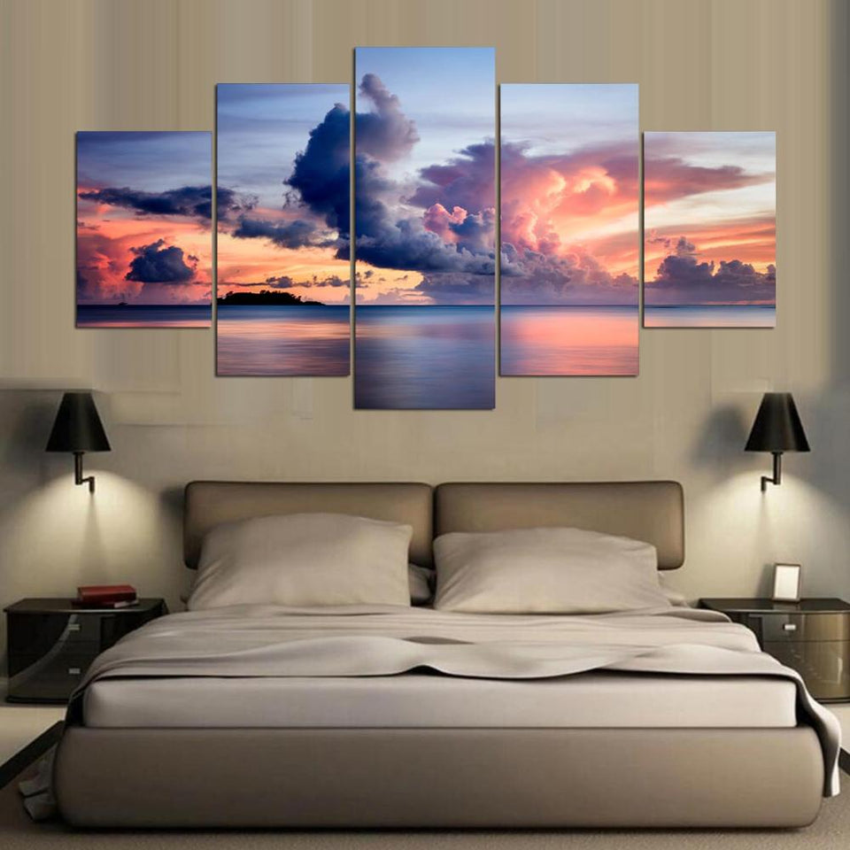 Painting Abstract Art Wall Picture Canvas Prints 5 Panel Beautiful Clouds Landscape