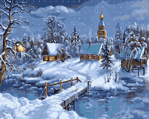 Snow Landscape Frameless Diy Oil Painting By Numbers Canvas Painting Wall Art Home Decoration