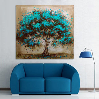 Abstract Blue Tree Canvas Art Decoration of Oil Painting Wall Pictures