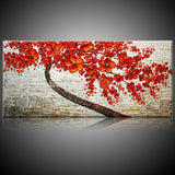 Tree Hand Painted Oil Painting Red Floral Tree On Canvas Wall Art Art Canvas Painting