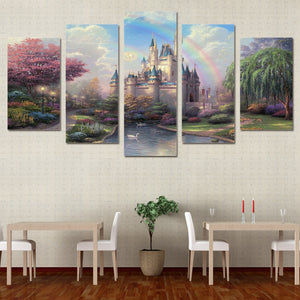 HD Printed Cinderellas Castle Painting On Canvas Room Decoration Print Poster Picture