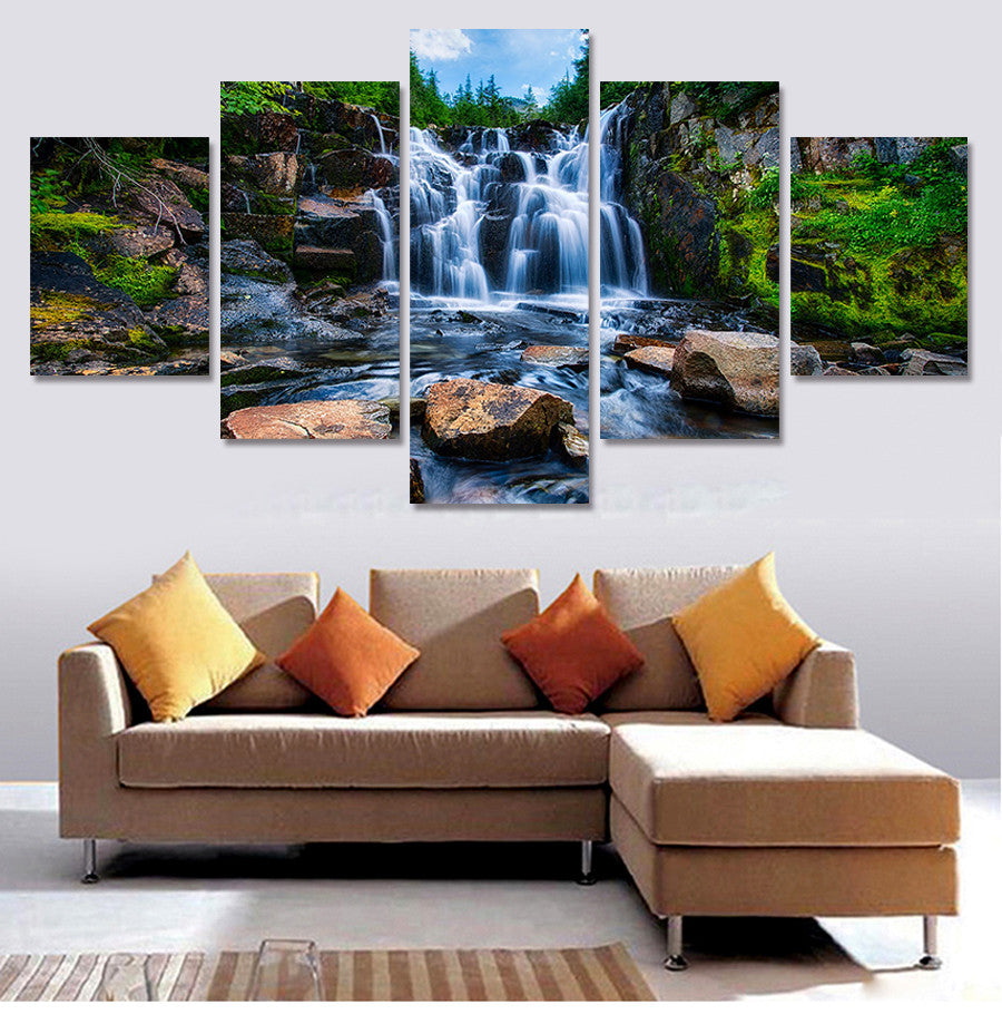 5 Pcs Waterfall Painting Canvas Art Pictures On The Wall Print Painting By Numbers Gift