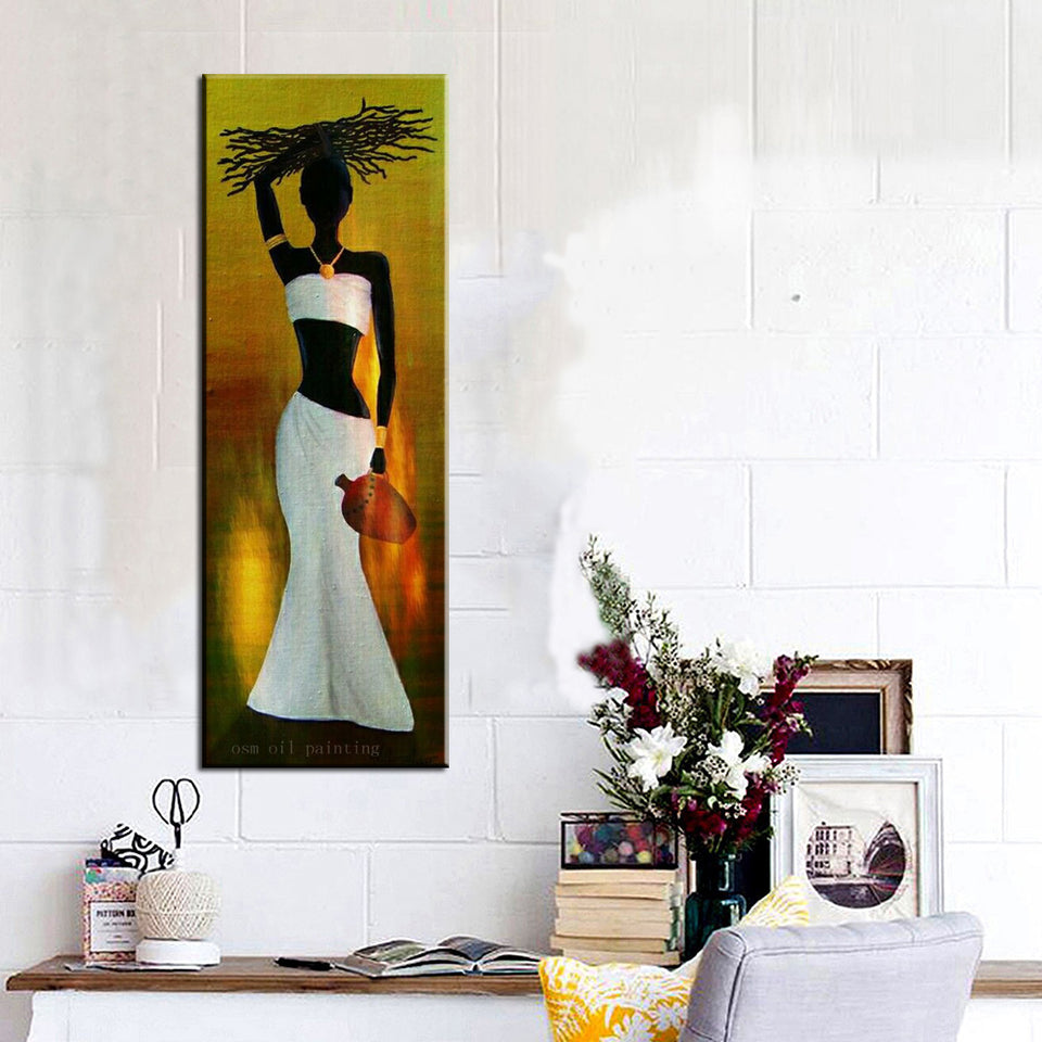 Abstract Wall Art Decor Indian Woman Hang Canvas Picture Handmade Black Lady Portrait Figure Oil Paintings