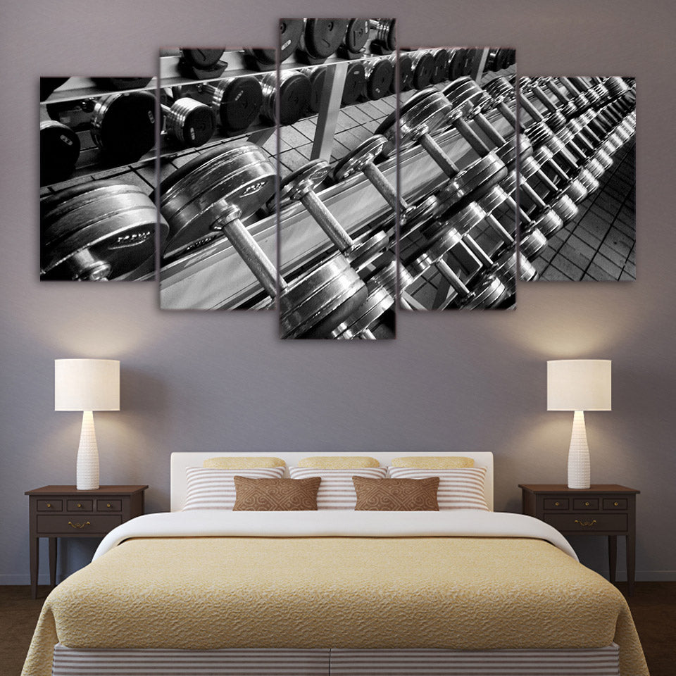 5 Piece Art Dumbbells Fitness Poster Gym Canvas Painting Decor Wall Pictures