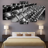 5 Piece Canvas Art Dumbbells Fitness Poster Gym Equipment Canvas Painting