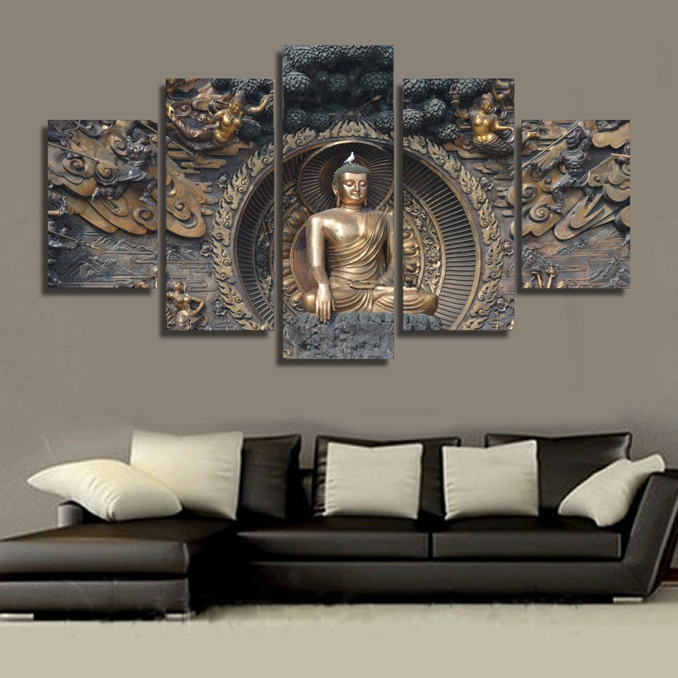 Modular Painting Wall Art Pictures Canvas Poster 5 Panel Buddha Statue Buddhism  Art Landscape HD Printed