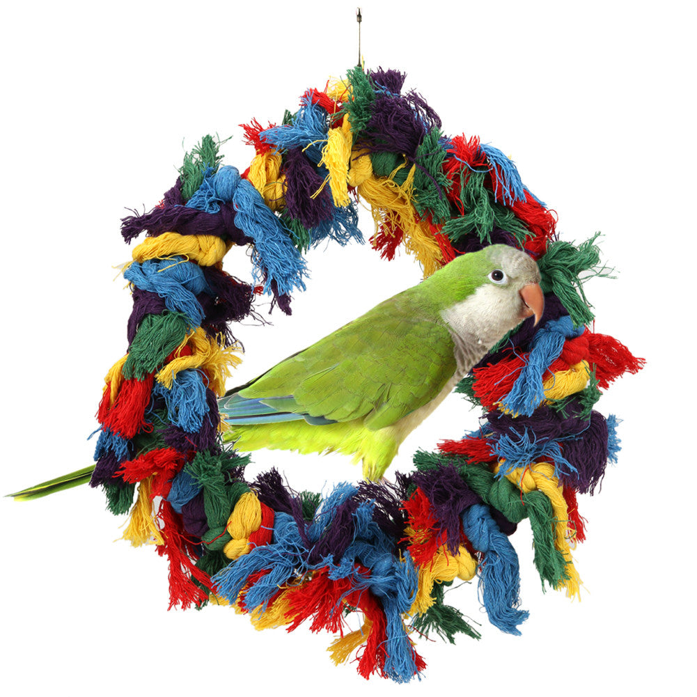 Cotton Ring Ropes Pet Bird Parrot Budgie Cage Rope Hanging Chew Toy Parakeet Hammock