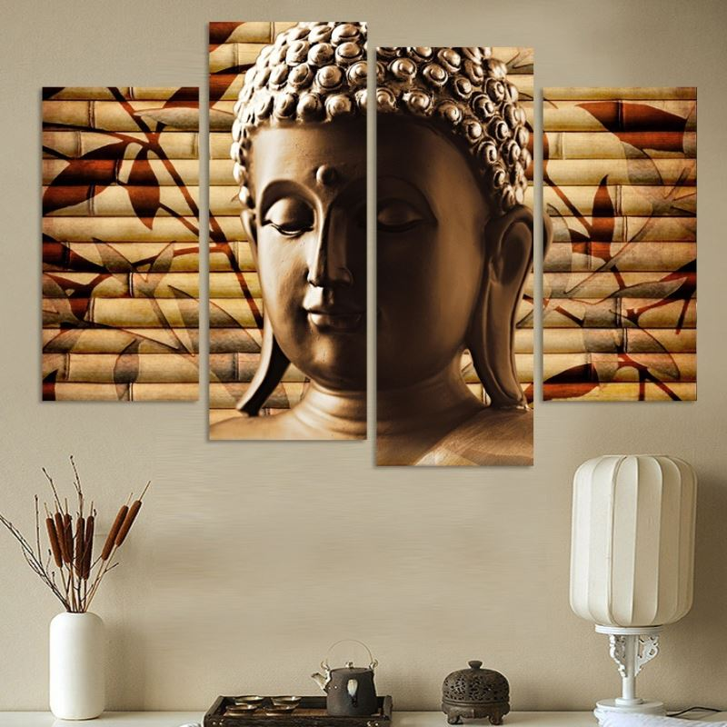 4 Panel Canvas Painting Buddha Statue Abstract Wall Art Painting Home Decor