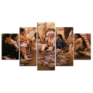 5 Pieces American Painters Indian Home Wall Decor Canvas Picture Art HD Print Painting On Canvas