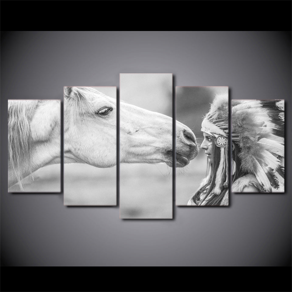 5 Piece Canvas Art White Horse And Indians Painting Home Decor Wall Pictures