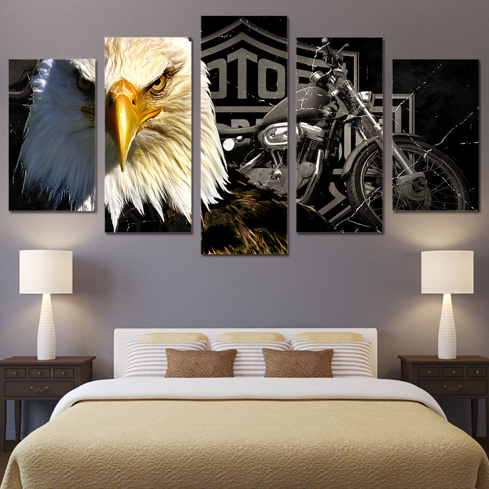 5 Piece Canvas Art Eagles Motorcycle Paintings For Living Room Wall Decor