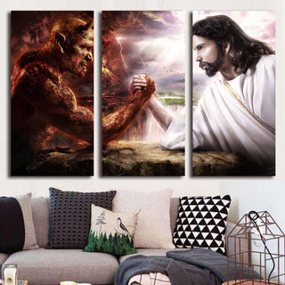 HD Printed 3 piece Jesus Christ Arm Wrestling With Devil Painting Wall Art Canvas