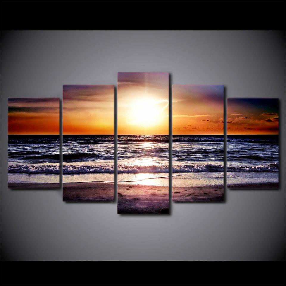 HD 5 Pieces Wall Art Beach Canvas Painting Sunset Seascape Wall Posters And Prints