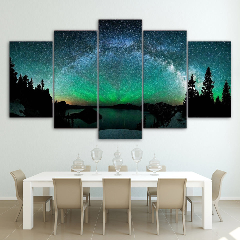 HD Printed 5 Piece Canvas Art Aurora Modular Painting Wall Pictures