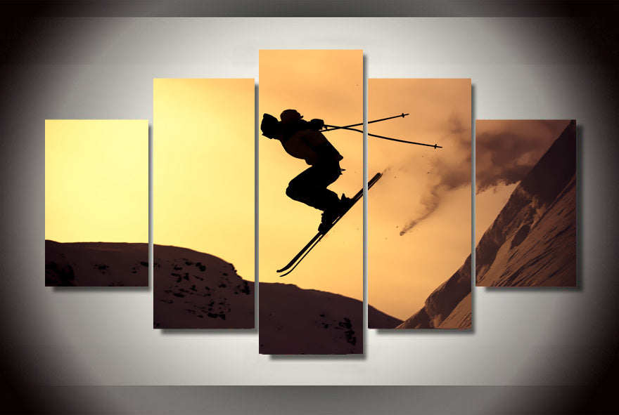 HD Printed Alpine Skiing Painting On Print Poster Picture Canvas