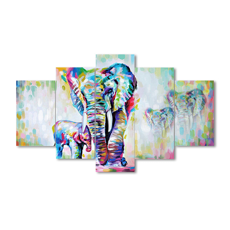 5 Pieces Canvas Painting African Art Elephants Living Room Wall Decor Pictures Handmade Landscape