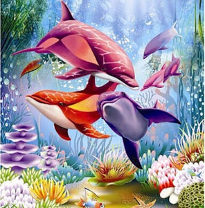 Diamond Painting Cross Stitch Dolphin 5D Diamond Mosaic Embroidery Canvas Home Decoration Painting