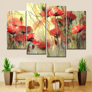 4 Panels Modular Paintings Flowers Canvas Art Pictures