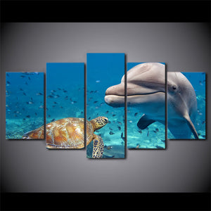 HD Printed 5 Piece Canvas Art Blue Deep Ocean Dolphin Fish Group Painting Wall Decorations