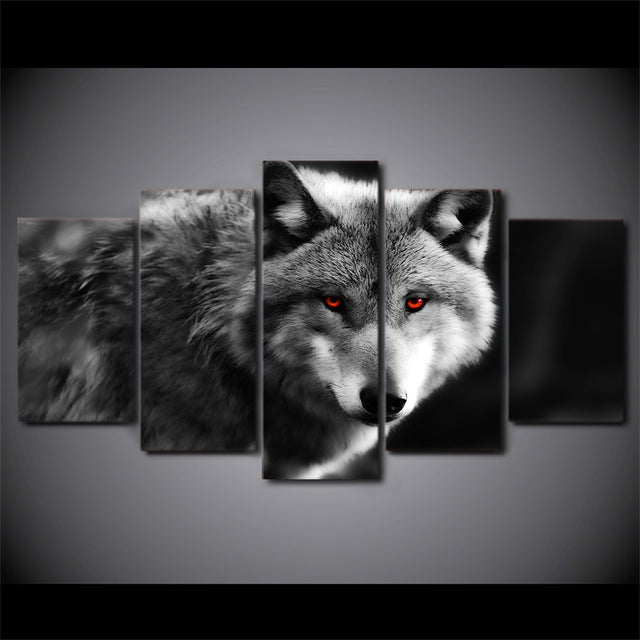 5 Piece Canvas Art Red Eye Wolf Painting Wall Canvas Artwork HD Printed Modular