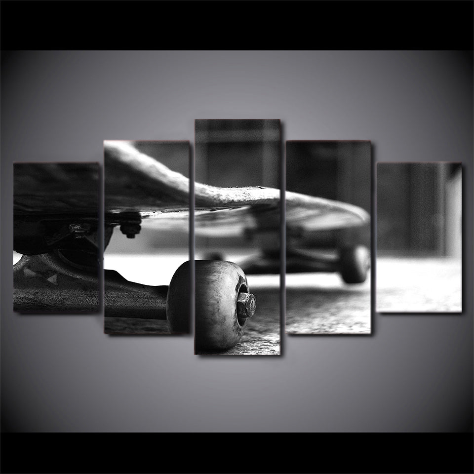 HD Printed 5 Piece Canvas Art Skateboard Black And White Painting Wall Pictures
