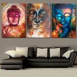 HD Printed Buddha Wall Art 3 Piece Canvas Living Room Decoration Wall Art 3 Pieces