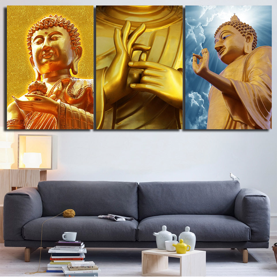HD Print 3 Piece Buddha Canvas Golden Wall Art Painting Zen Canvas Painting