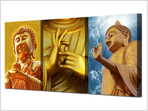 HD Print 3 Piece Buddha Canvas Golden Buddha Wall Art Painting Zen Painting