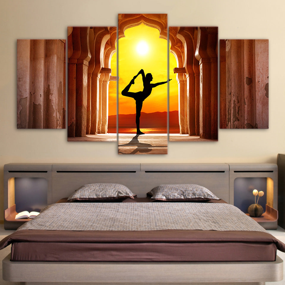 HD Printed 5 Piece Canvas Art Yoga Fitness Twilight Hall Painting Wall Pictures Poster