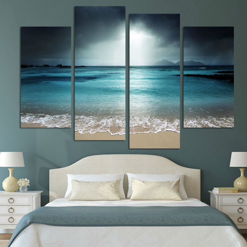 HD Printed 4 Piece Canvas Sea Beach Wave Seascape Painting Beach Pictures Wall Decorations