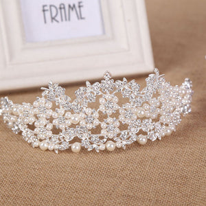 Vintage Baroque Pearl Princess Tiara Crown Bridal Headdress Rose King Crown Bride Wedding Hair