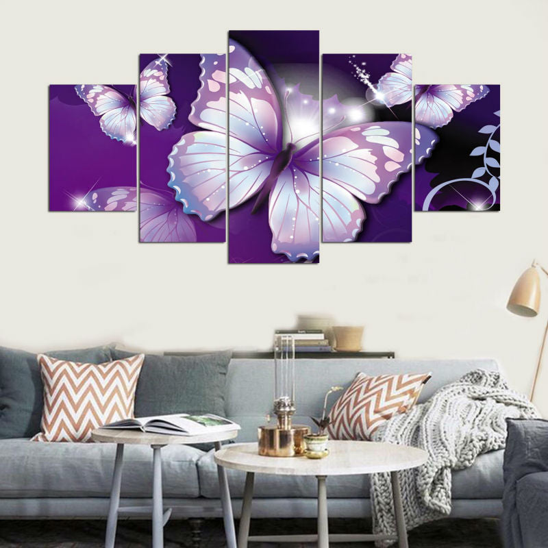 Hd Printed Modular Picture Large Canvas Painting Wall Art Decor 5 Panel Purple Butterflies