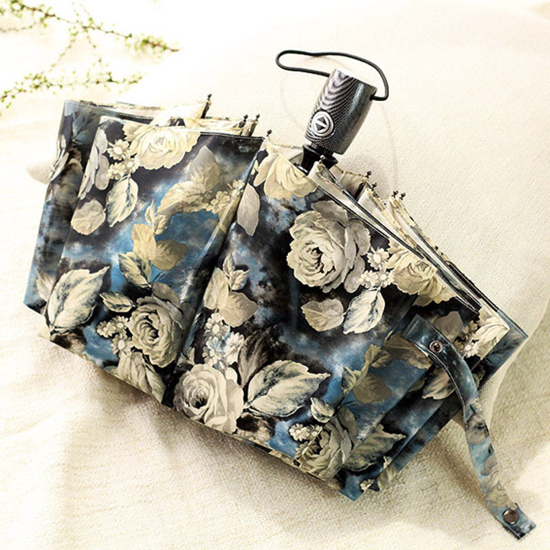 Automatic Three Folding Rose Umbrella Rain Women Windproof Fashion Painting Sunny