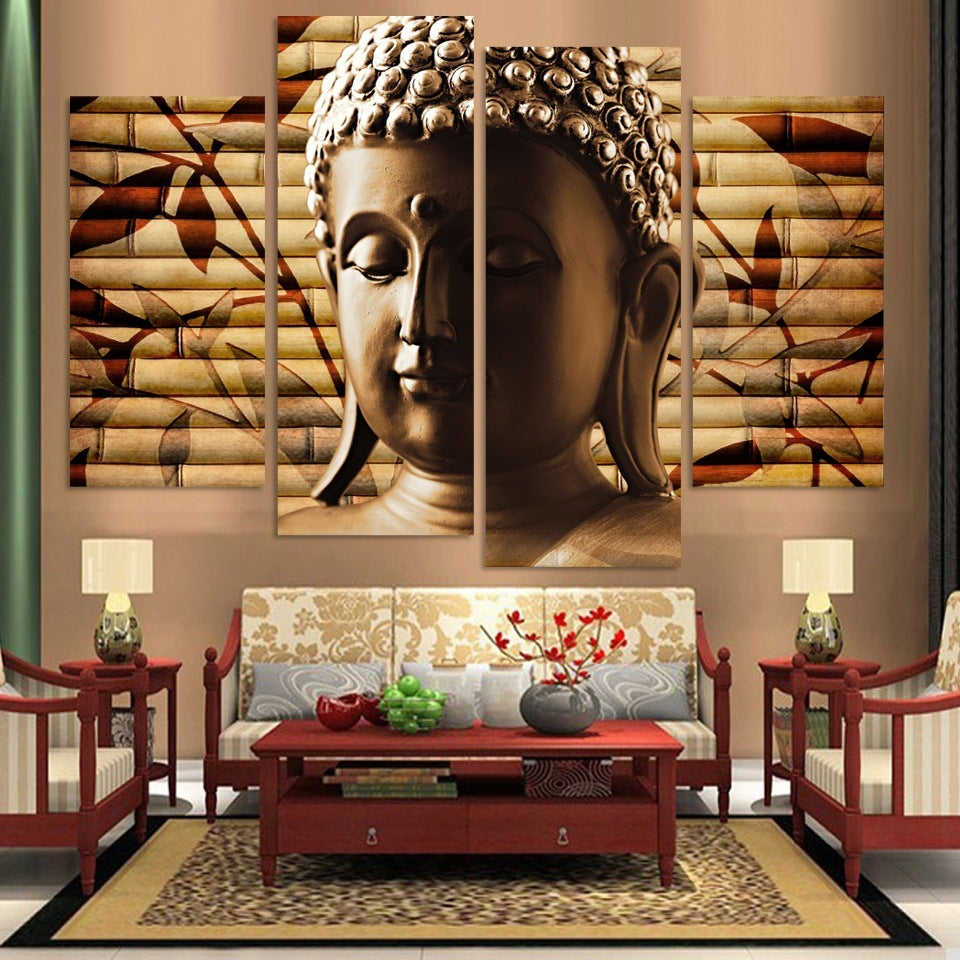 Beautiful 4 Panel Canvas Painting Buddha Statue Abstract Wall Art Painting Home Decor