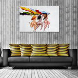 African Running Woman Canvas Oil Painting Artwork Handmade Wall Art Paintings Decorate Rooms