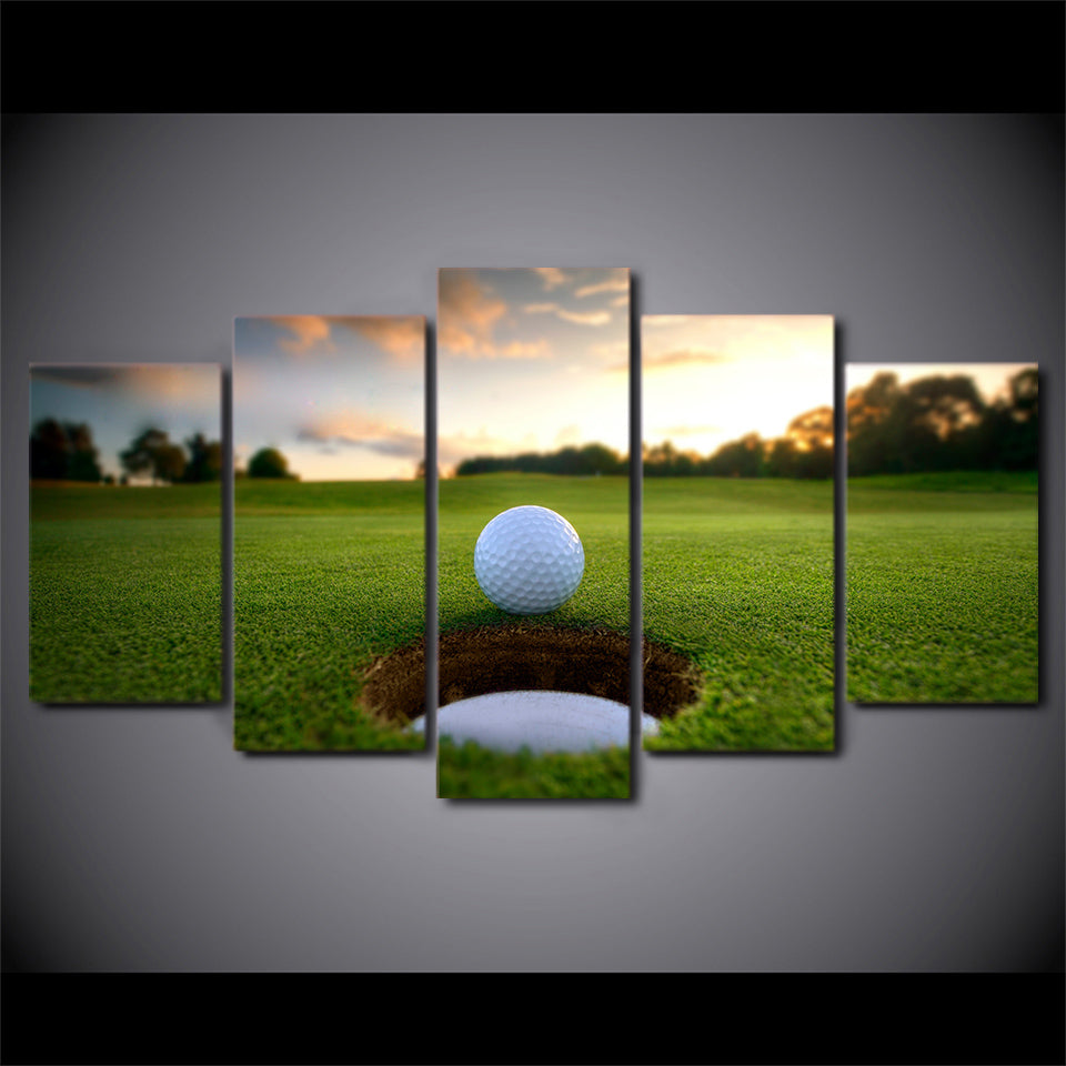 HD Printed 5 Piece Canvas Art Golf Course Leisure Sport Painting Wall Pictures