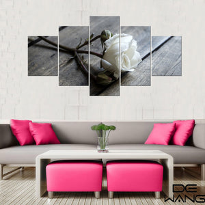 Art 5 Piece Canvas Art White Rose Picture To Photo Prints On Canvas
