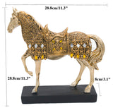 "28.8cm(11.3"")Height Golden Resin Trotting Horse Figurine Statue Animal Furnishing Articles"