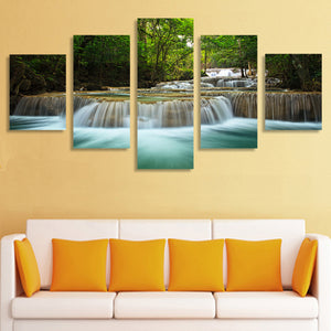 5 Pcs Waterfall Painting Canvas Wall Art Picture Home Decoration Print Painting