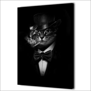 HD Printed 1 piece Canvas Art Smoking Gentleman Cat Painting Black Abstrat Wall Pictures