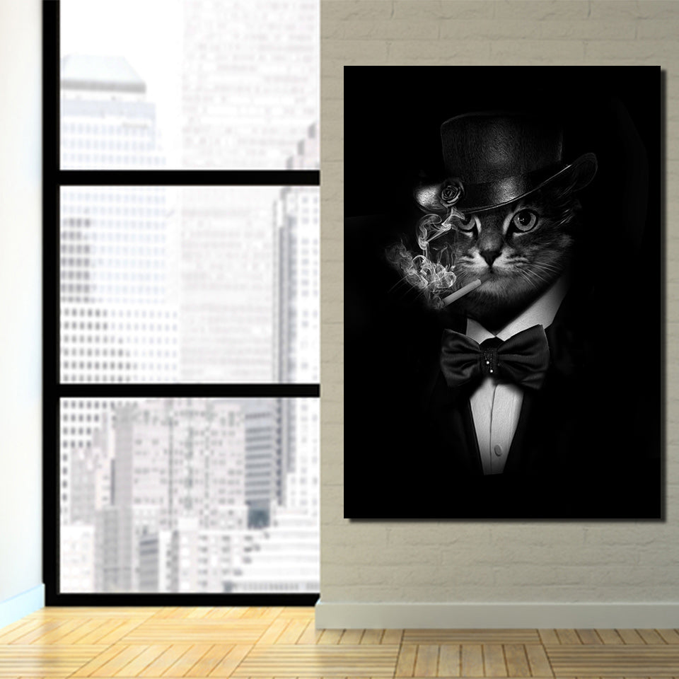 Hd Printed Canvas Art Smoking Gentleman Cat Painting Black Wall Pictures